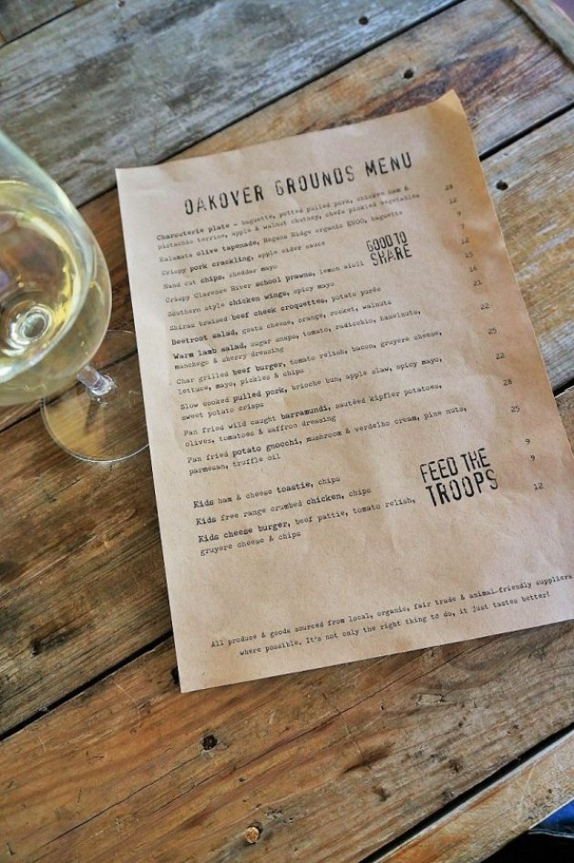 Oakover Grounds Lunch Menu - Swan Valley