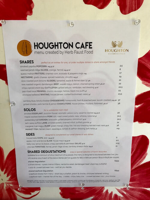 Houghton Winery Cafe Menu By Herb Faust Food