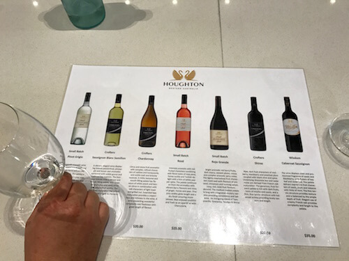Wine Tasting List at Houghton Winery in the Swan Valley
