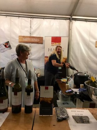 Sue Croft at the Happs stand at City Wine 2017
