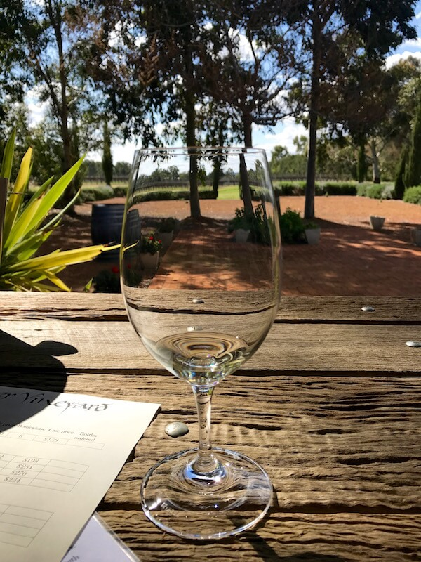 Riedel Glass on Table at Faber Vineyard - Swan Valley