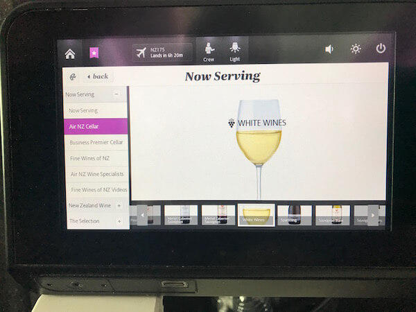 Air New Zealand - Wines Served On-Board