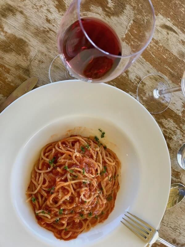 Pomodoro pasta at Pinelli Winery Restaurant - Swan Valley Perth