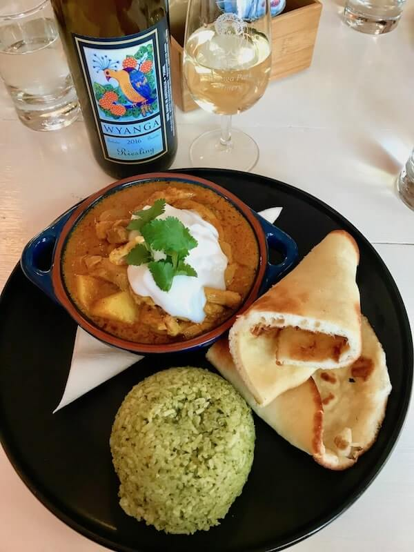 Riesling and Curry at Wyanga Park Winery Cafe