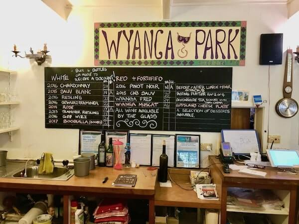 Wyanga Park Winery Tasting Menu