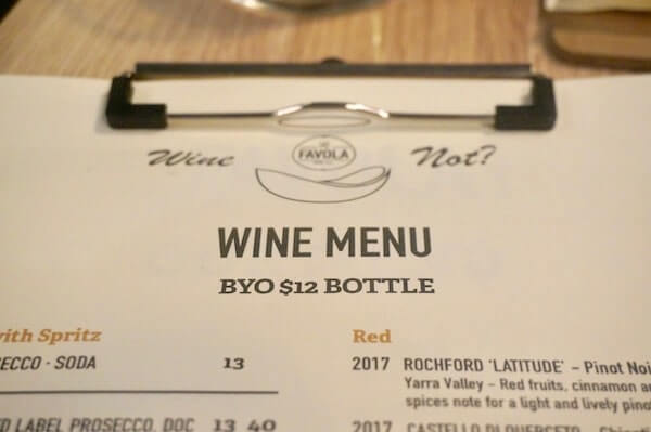 BYO at La Favola Newtown Sydney