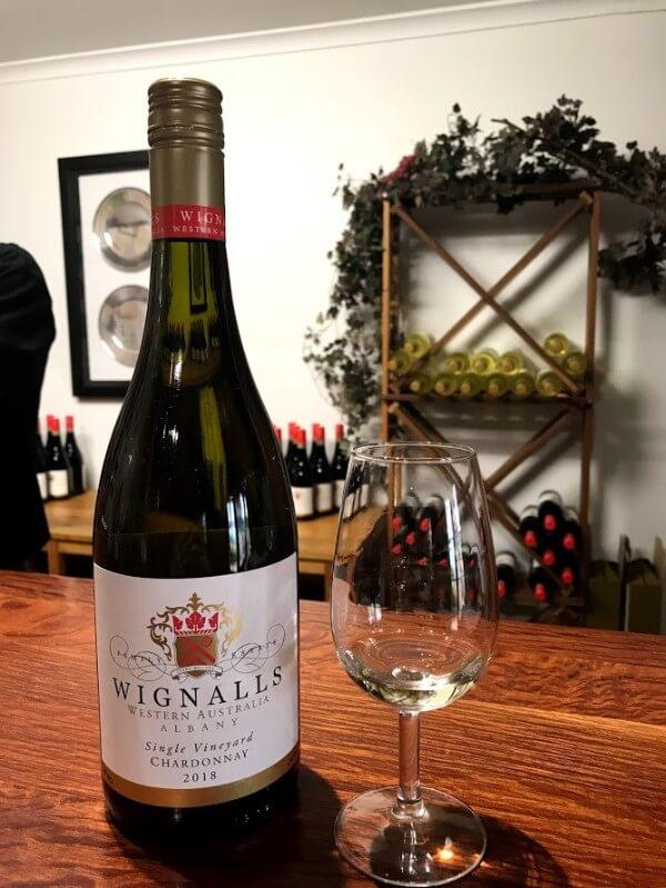 bottle-and-glass-of-wignalls-western-australia-albany-single-vineyard-chardonnay
