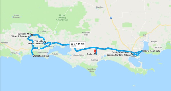 map-of-our-trip-from-albany-to-elephany-cove-ducketts-mill-lake-house-to-torbay