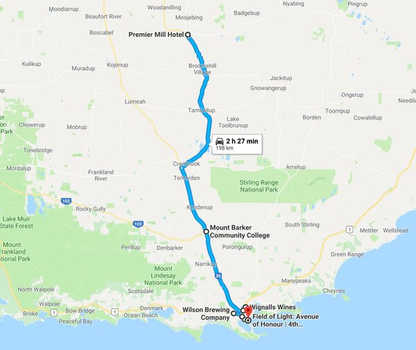 map-of-our-trip-to-premier-mill-hotel-katanning-to-wine-show-of-wa-awards-alkaline-cafe-wilson-brewing-company-bred-co-wignalls-winery