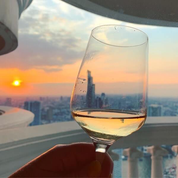 Sunset and wine at Tower Club Lounge at Lebua Bangkok