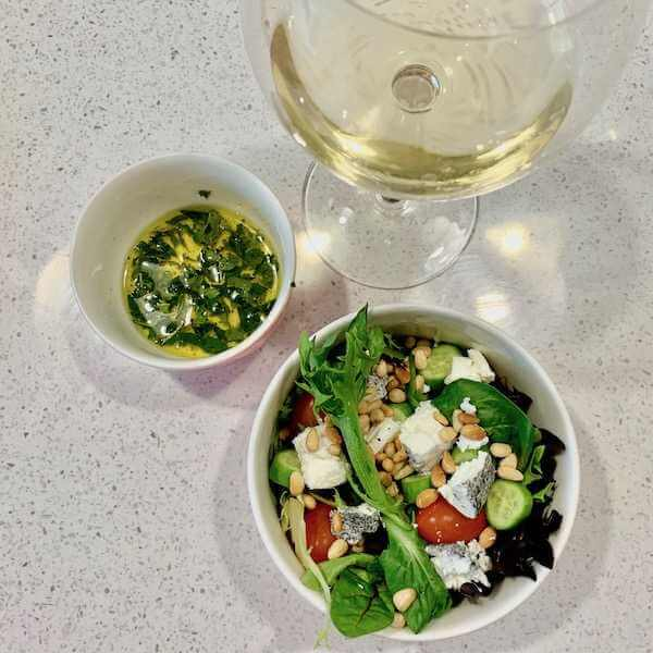 Goats Cheese Garden Salad and Wine