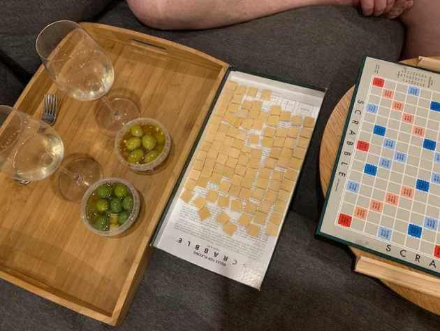 Playing Scrabble at The Nest - Toms Cap Vineyard Retreat in Gippsland