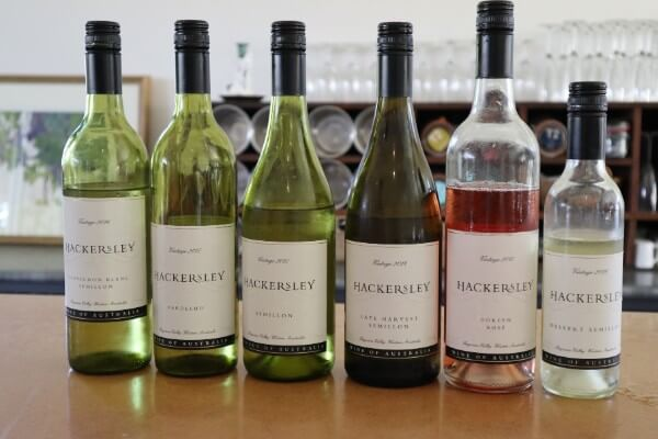 six bottles of white and rose wines at hackersley estate