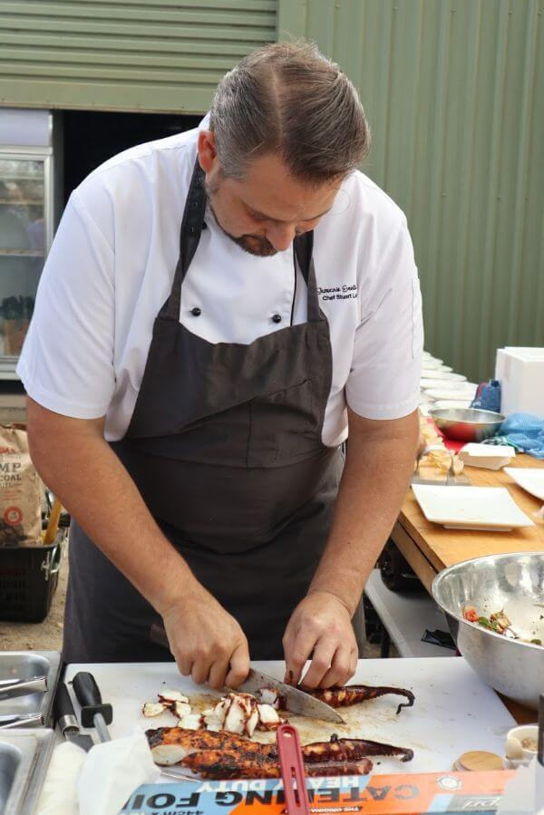 chef stuart laws preparing occy at the galafrey wines long table lunch