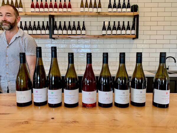 Wine tasting lineup at Sinapius Cellar Door - Tamar Valley - Tasmania