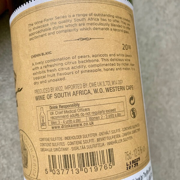 The Wine-Farer 2018 Chenin Blanc - South Africa - Back Label