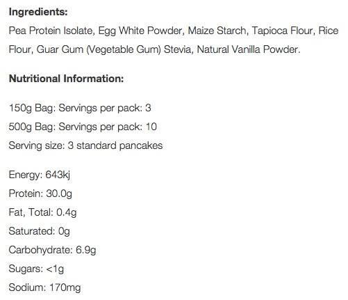 Nutritional information of #12health Vanilla Protein Pancake Mix per serve