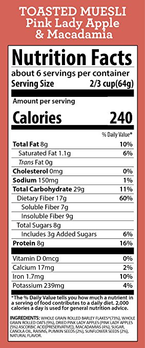 Travelling Dietitian Barley+ Pink Lady Apple and Macadamia Toasted Muesli from Freedom Foods Nutrition Facts
