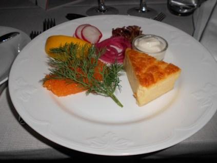 White fish roe y pastel de queso