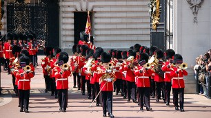 (dpa file) The file picture dated May 2006 shows the Band of the Coldstream Guards march during Changing the Guards at Buckingham Palace of London, United Kindom. Photo by: Uwe Gerig/picture-alliance/dpa/AP Images
