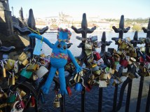 Admiring the love locks.