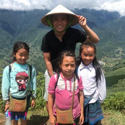Nathanael Nunag with the local kids