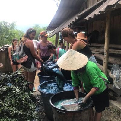 Indigo dye making with these beautiful ladies