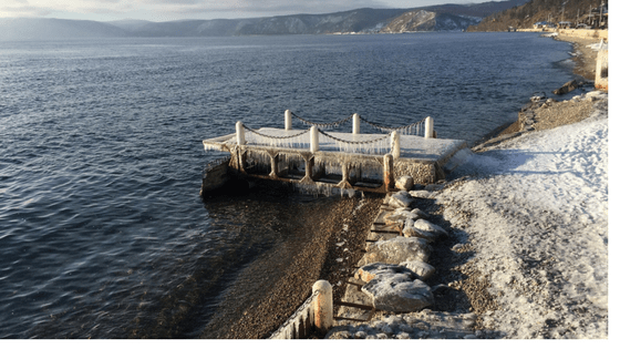 Icy Pier on Lake Baikal