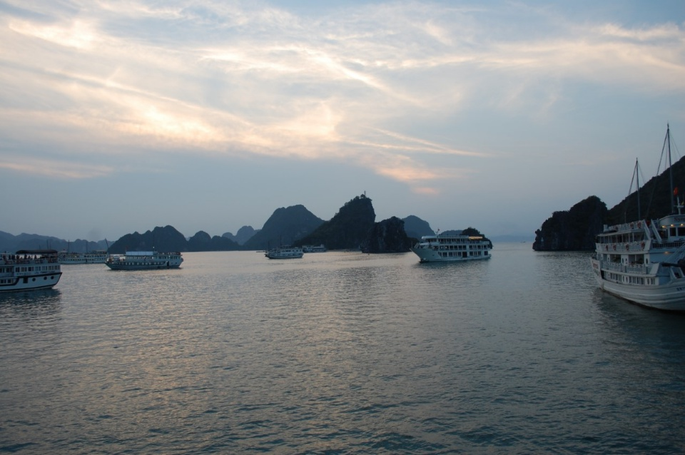 sunset over Ha Long Bay in Vietnam