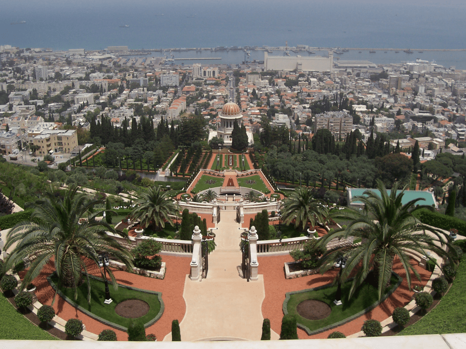 top of the Bahai Temple in Haifa, Israel-min