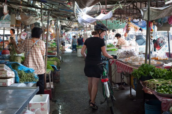 Tara exploring local markets during a bike tour.