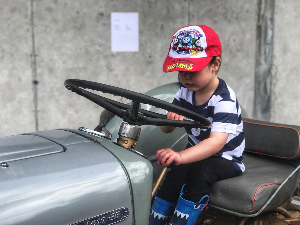 Dexter sat on an old silver tractor in Taylor's farm during leaf Open farm Sunday