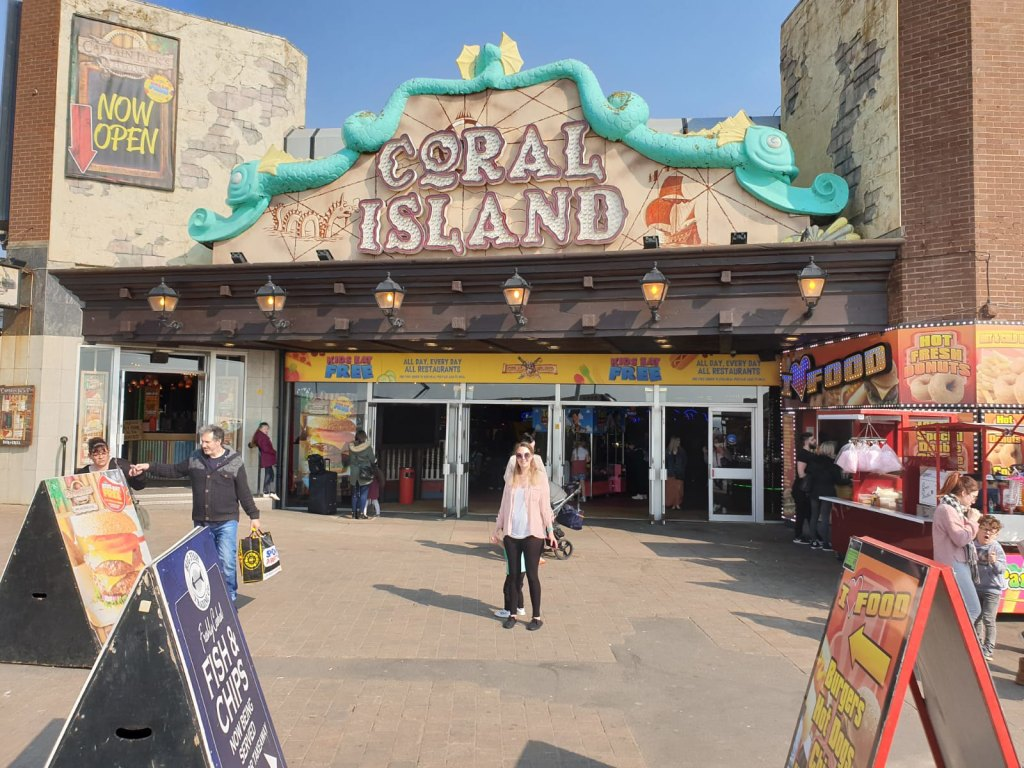 Nicola outside Coral Island in Blackpool