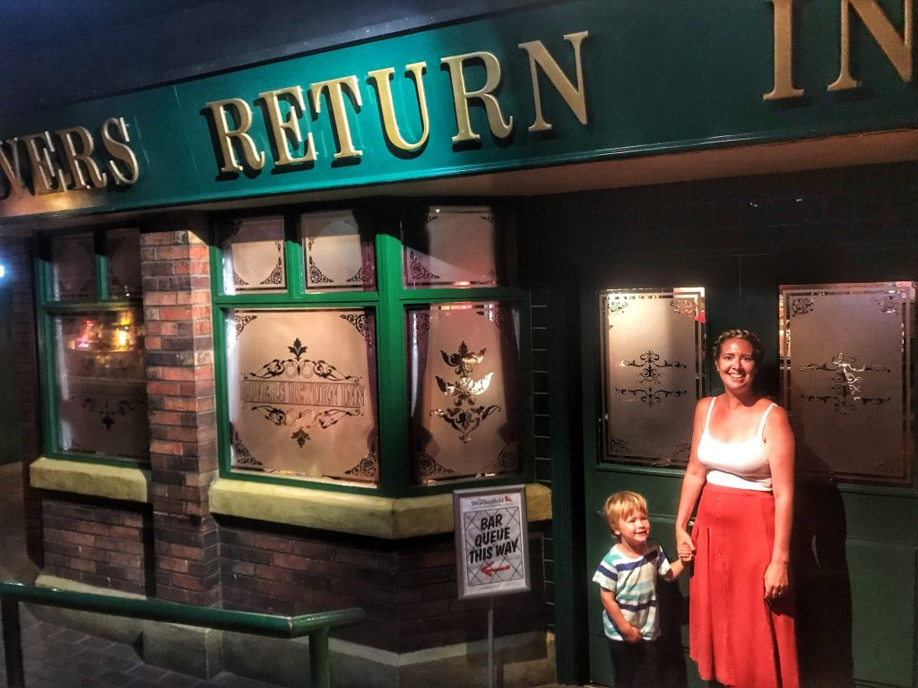 Nicola and Dex outside the Rovers Return at Madame Tussauds Blackpool