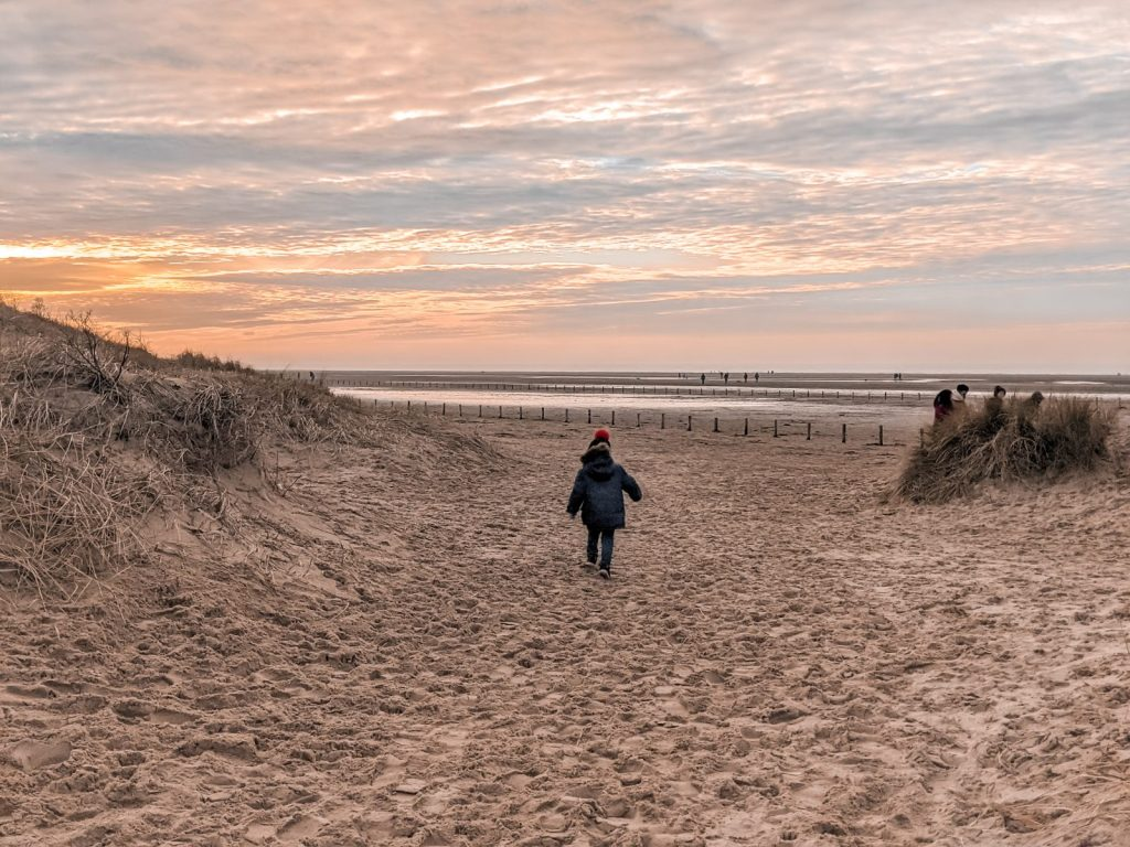 Decter running onto Ainsdale beach in the winter