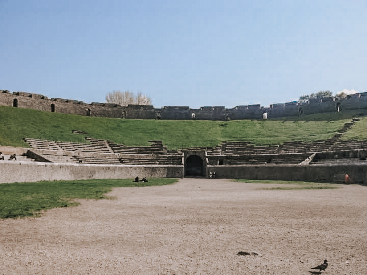 Inside the ampitheatre in Pompeuu