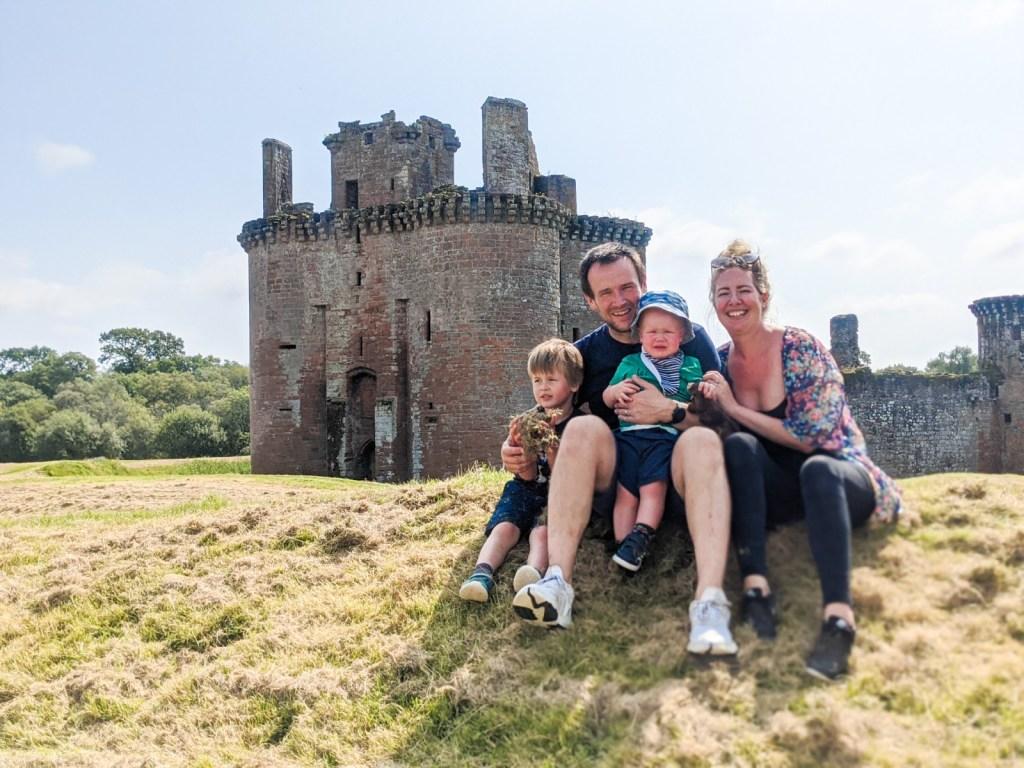 Dexter, Neil, Felix and Nicola outside Caerlaverock Castle