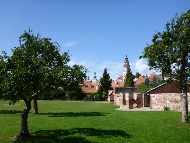 Brewery garden of Eggenberg brewery in Cesky Krumlov
