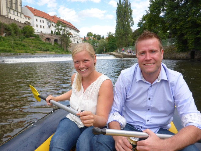 Happy rafters on the river in Cesky Krumlov