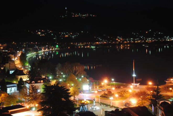 Ohrid harbour by night