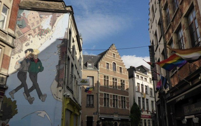 Broussaille, the first comic strip mural in Brussels, Belgium