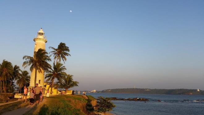 The promenade from Galle lighthouse during sunset
