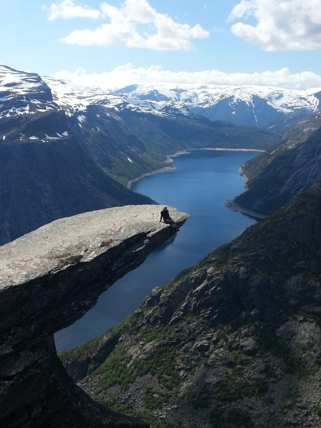 At Trolltunga (Troll's tongue) in Hardanger in Norway