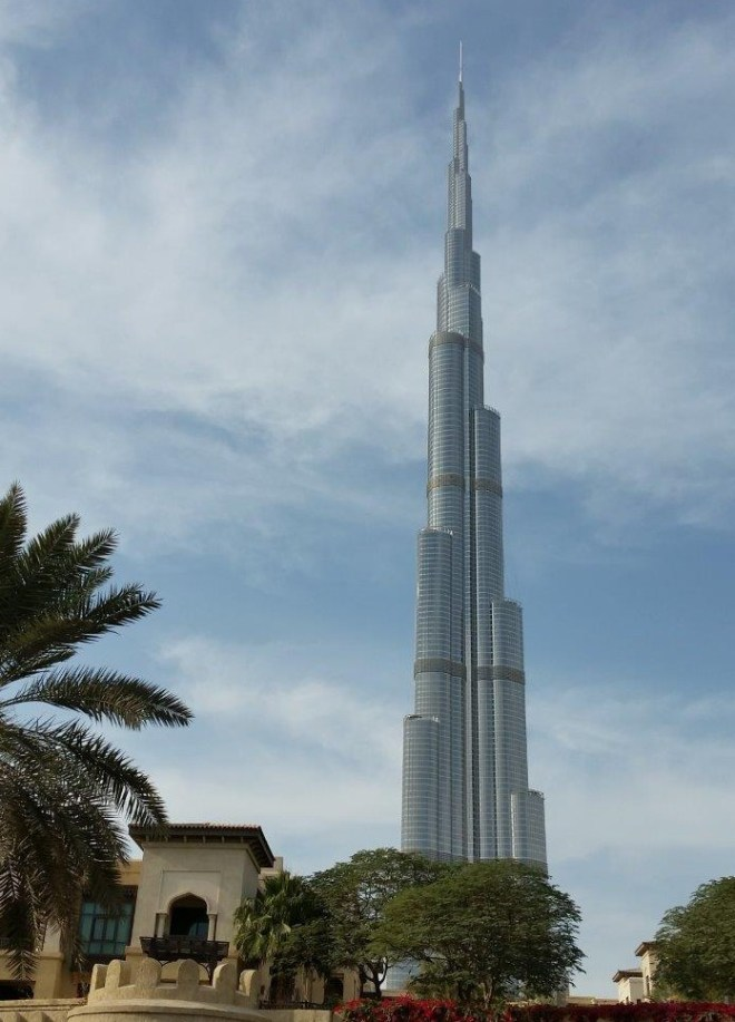 Burj Khalifa, the world's tallest building, rising 828m above the city
