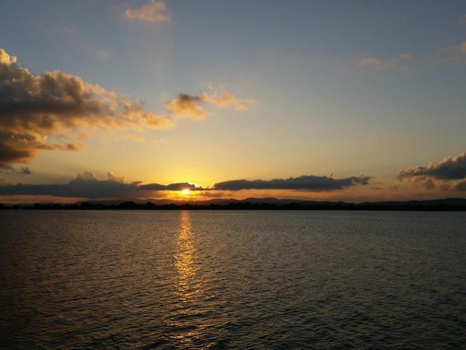 Sunset by lake Parakrama Samudra in Polonnaruwa