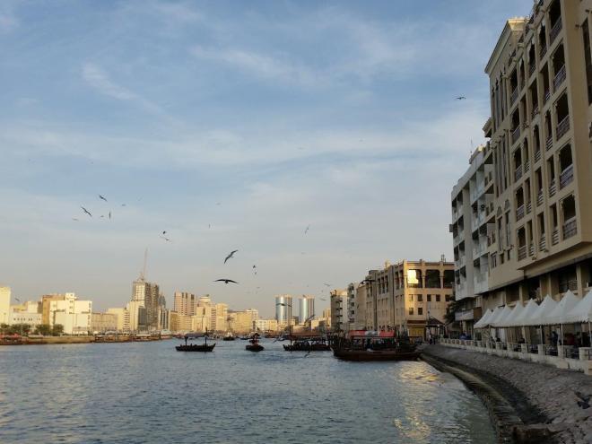 Wooden abra's crossing the Khor Dubai river