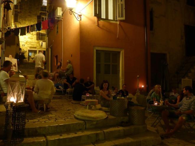 Nice atmosphere at Trevisol bar in Rovinj old town, Croatia