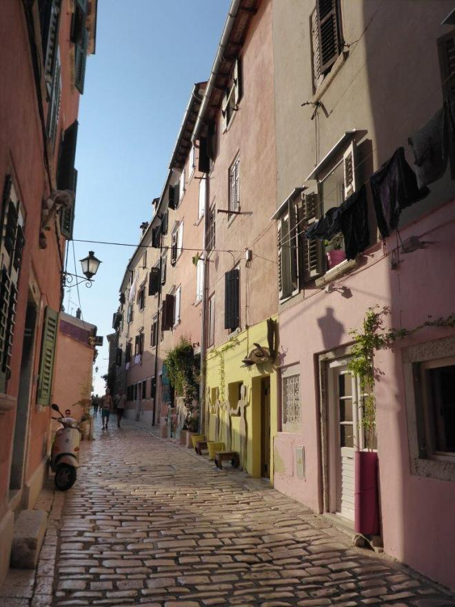 Street in old town in Rovinj, Croatia
