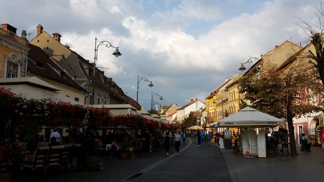 The main street in Sibiu, Romania