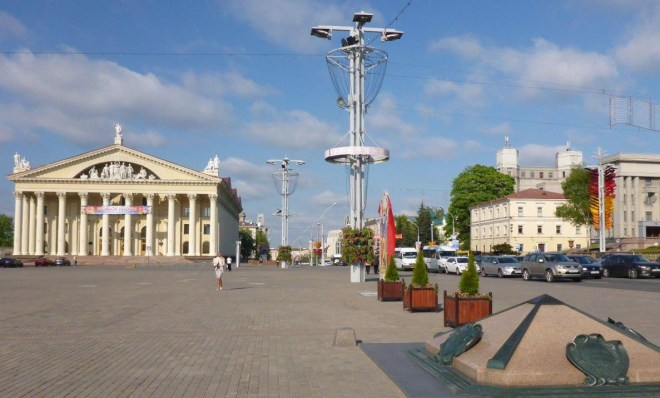 The Km 0 mark is situated at the October Square in front of the Palace of Republic